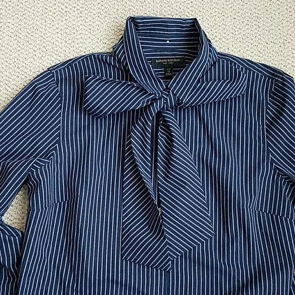 5a168e8ff1a826 Banana Republic Tops - Banana Republic Riley striped bow shirt